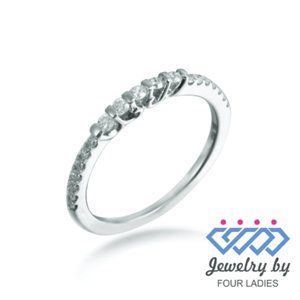 Solid Diamond Stackable Wedding Band White Gold